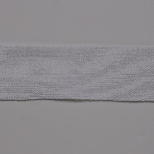 White 6 cm Knitted Rib tape by the metre 50% Cotton 50% Linen